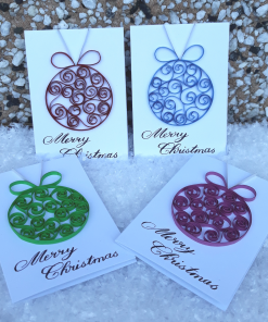 Handmade Quilled Small Bauble Card