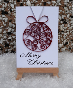 Handmade Quilled Small Bauble Card - Berry Red