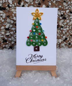 Handmade Quilled Small Christmas Tree Card