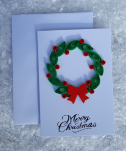 Handmade Quilled Small Christmas Wreath Card