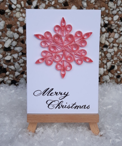 Handmade Quilled Small Snowflake Card - Flamingo Pink