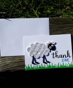 Handmade Quilled Thank Ewe Card